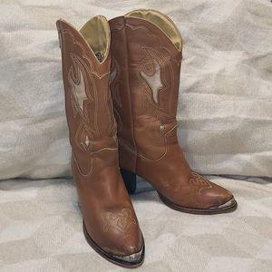 Women's Vintage Zodiac Leather Cowboy Boot Size 7M